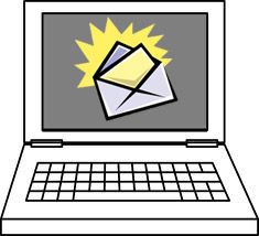 computer with email illustration